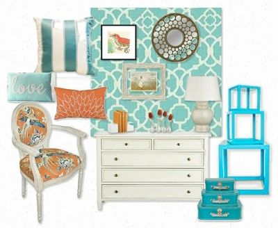 Turquoise And Coral Room Love The Wallpaper For College Juxtapost