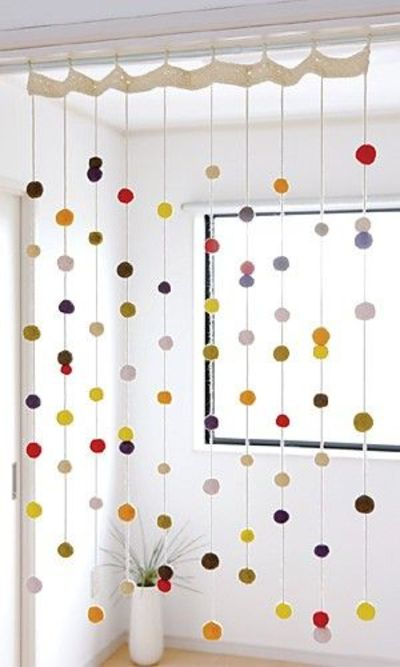 Curtain   Make With Crochet Circles, Balls, Or Pom Poms