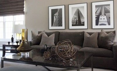 Gray couch. Taupe-y gray walls. / For the home - Juxtapost
