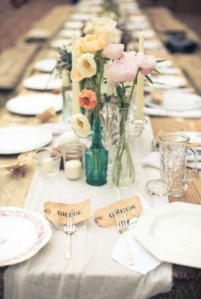 VINTAGE TABLE setting and natural wood table #flowers #china ...