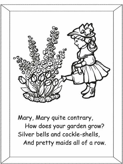 Mary Contrary Nursery Rhyme Coloring Page With Text