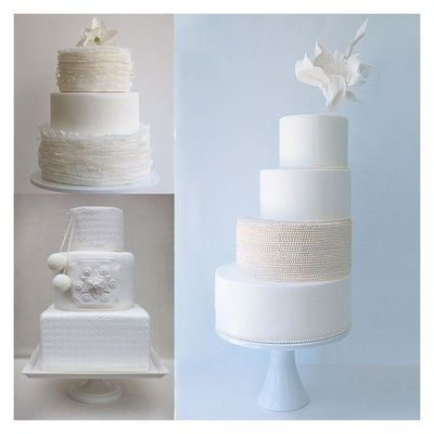 Pretty ivory and white wedding cakes