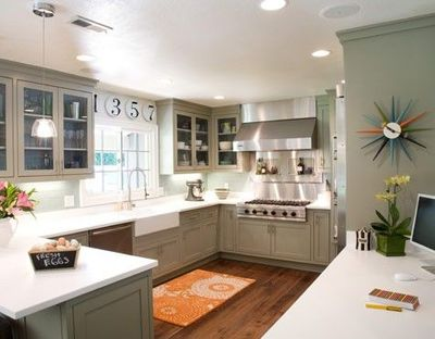 Grey Green Kitchen With Playful Retro Color Splashes