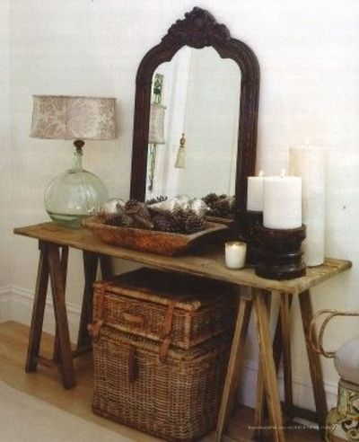Rustic Entryway Love The Mirror Lamp And Table For