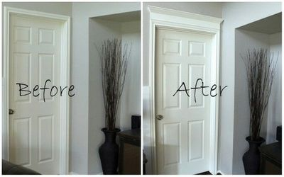 Diy crown molding above the doors for the home juxtapost for Over door decorative molding
