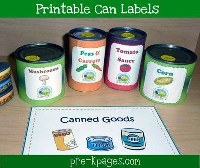 Free #printable can labels for your dramatic play grocery store vis ...