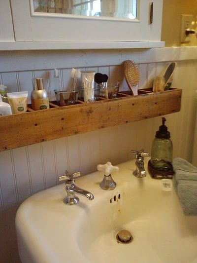 Wood Box For Storage Over A Pedestal Sink Too Rustic Bath Ideas Juxtapost
