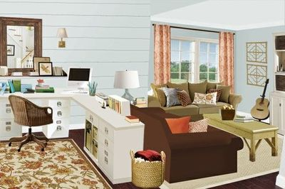 Living room office mood board from the lettered cottage for Living room office combination