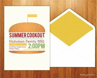summer bbq cookout 4th of july picnic 5x7 printable jp