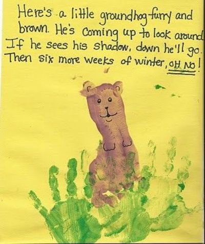Footprint groundhog with handprint grass - poem too - re-posted by