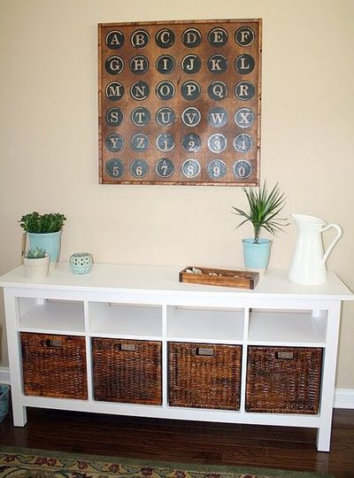 ikea hemnes console looks good with basket drawers. Black Bedroom Furniture Sets. Home Design Ideas