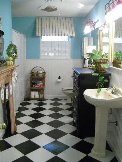 Black And White Tile Bathroom Floor Bath Ideas Juxtapost
