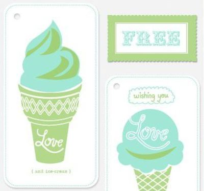 FREE printable love and ice cream gift tags