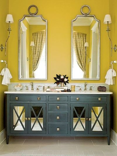 Just lovely. Yellow and blue my master bath needs to look like this!