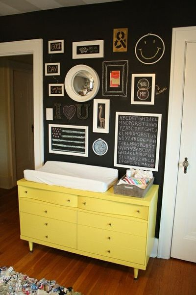 love the chalkboard paint wall with empty frames