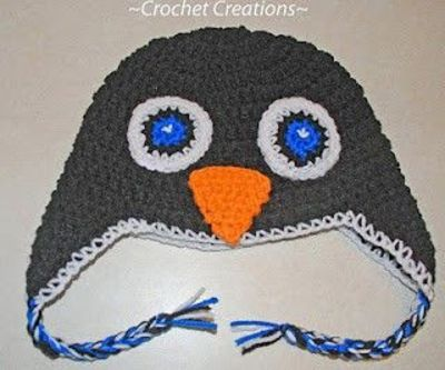 Crochet Penguin Ear Flap child hat - free pattern