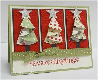 Folded Christmas Trees cards