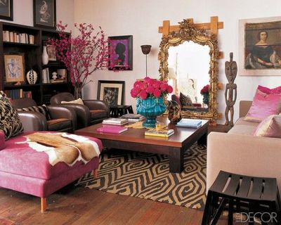 Living Room With A Pink Brown And Aqua Accents