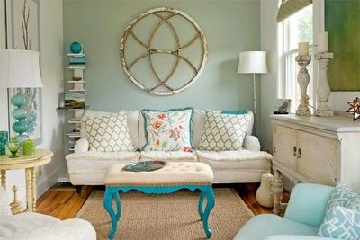 Turquoise And Orange Green Living Room
