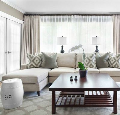 Mark Williams Design Gorgeous Monochromatic Living Room Design With Gray  Walls Paint Color, Ivory Sofa Part 97