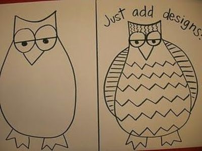 how to draw an owl for kindergarten
