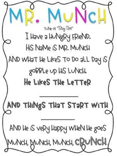 Mr. Munch-Letter sound muncher poem!! / Preschool items ...
