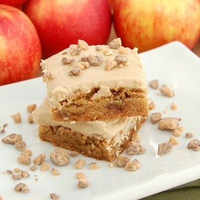 Apple Toffee Blondies with Brown Sugar Frosting