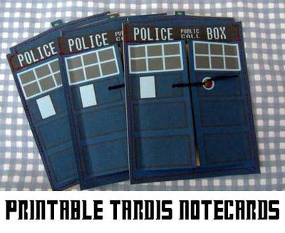 printable TARDIS notecards
