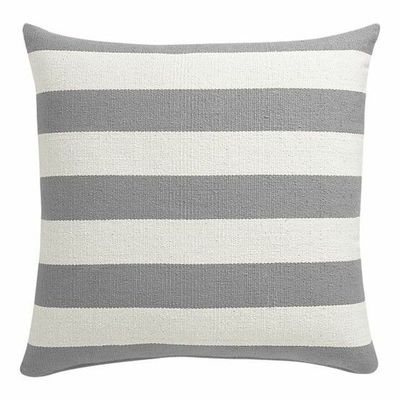 grey and white striped floor pillow.