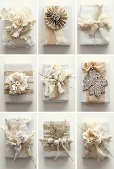 Pretty White Holiday Gift wrap
