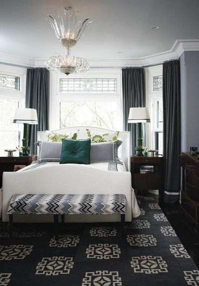 grey walls, dark grey curtains, striped bench. House & H... / For ...
