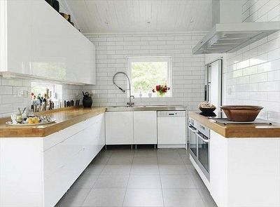 Modern White Kitchen With Tiled Backsplash That I Love