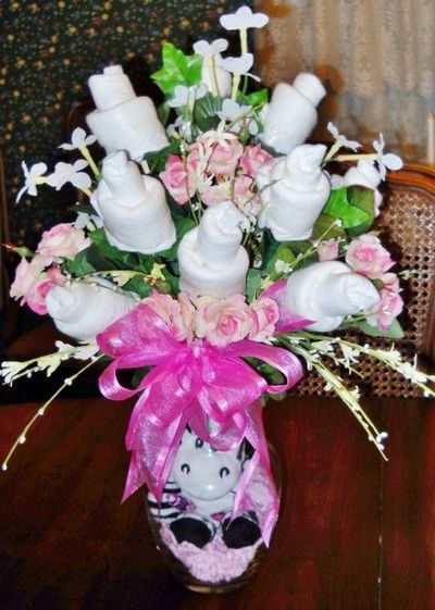 Pin diaper bouquet cake diva pink zebra centerpiece baby for Pink diaper bouquet
