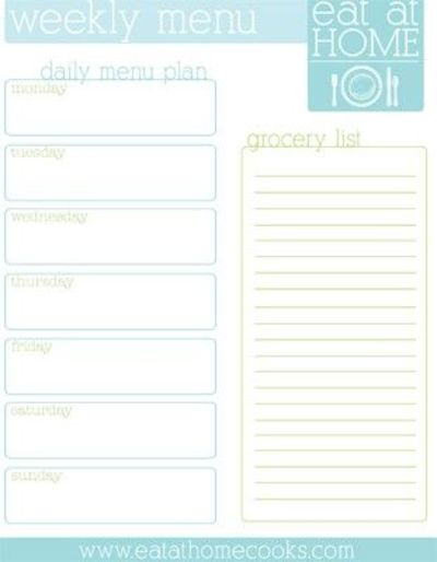 Free Printable Weekly Meal Menu Planner With Grocery List