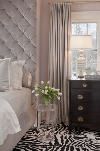 Lucite table tufted headboard from floor to ceiling for - Floor to ceiling headboard ...