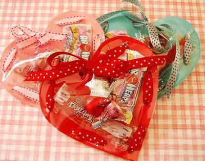 Clear Vinyl over Paper Heart Candy Pouches!