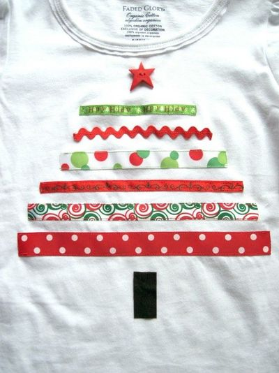 Ribbon christmas tree shirt.