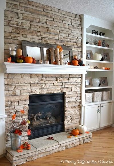 stone fireplace and built ins for the home juxtapost