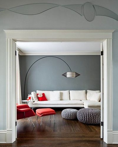 Superb Love This Room Gray Walls White Sofa Red Accents For Gamerscity Chair Design For Home Gamerscityorg