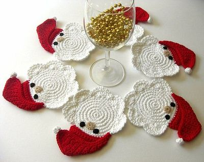 These Father Christmas Crochet Coasters Alice Brans Posted 4 Years