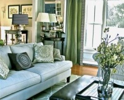 Green And Light Blue Living Room