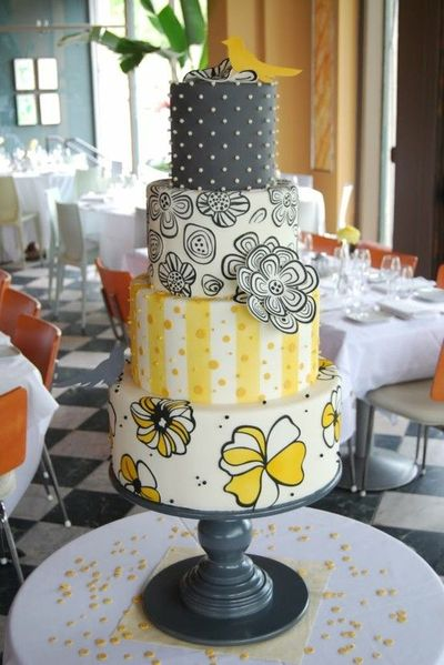 Yellow Grey Black Whimsy Wedding Cakes Juxtapost