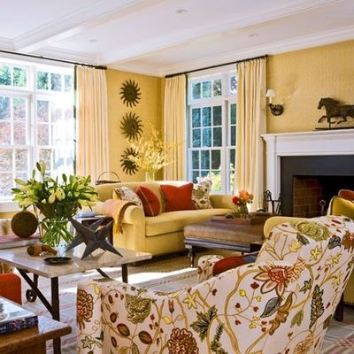 Butter Yellow And Persimmon Orange Living Room Designed By