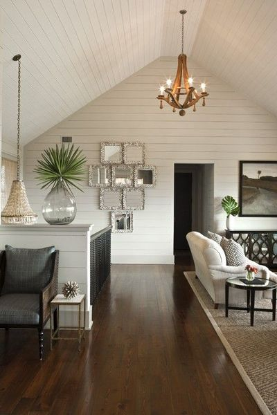 Love The Painted Wood Walls And The Dark, Contrasting Wood