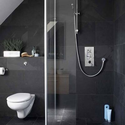 Love dark grey tile in bathrooms / bath ideas - Juxtapost