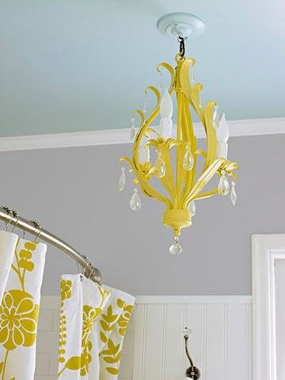 Love the blue ceiling amp grey wall the yellow chandelie for the