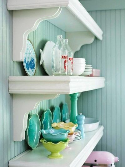 Open shelving... looks very similar to the shelves I just put in my kitchen!