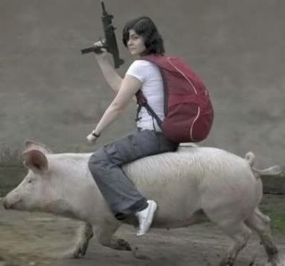No time to explain! Get on a pig!