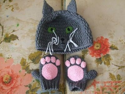 Crochet kitty hat & mittens pattern... also frog and uni... / crochet ...
