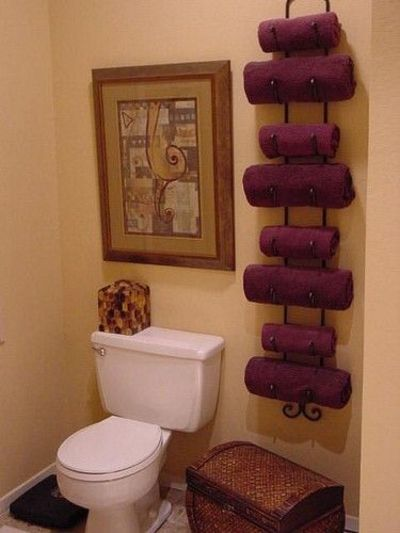 Wine rack as a towel holder. How clever!